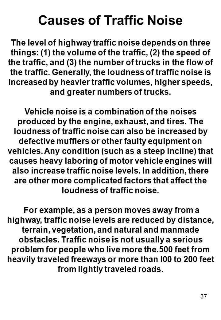 Causes of Traffic Noise