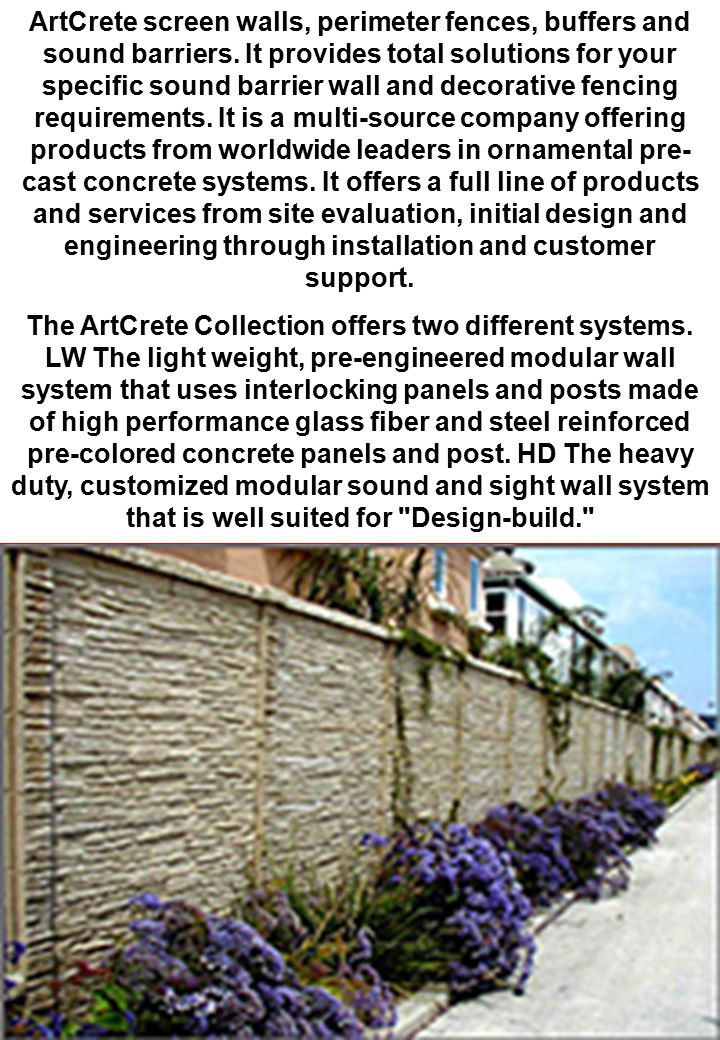 ArtCrete screen walls, perimeter fences, buffers and sound barriers
