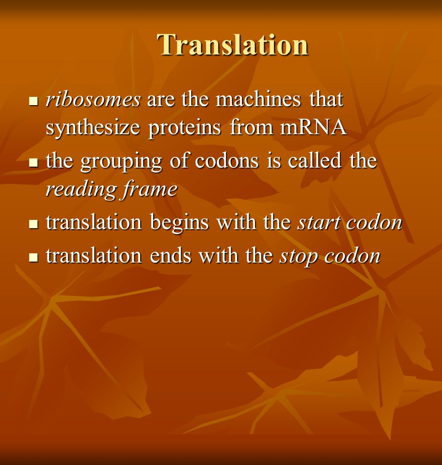 Translation ribosomes are the machines that synthesize proteins from mRNA. the grouping of codons is called the reading frame.