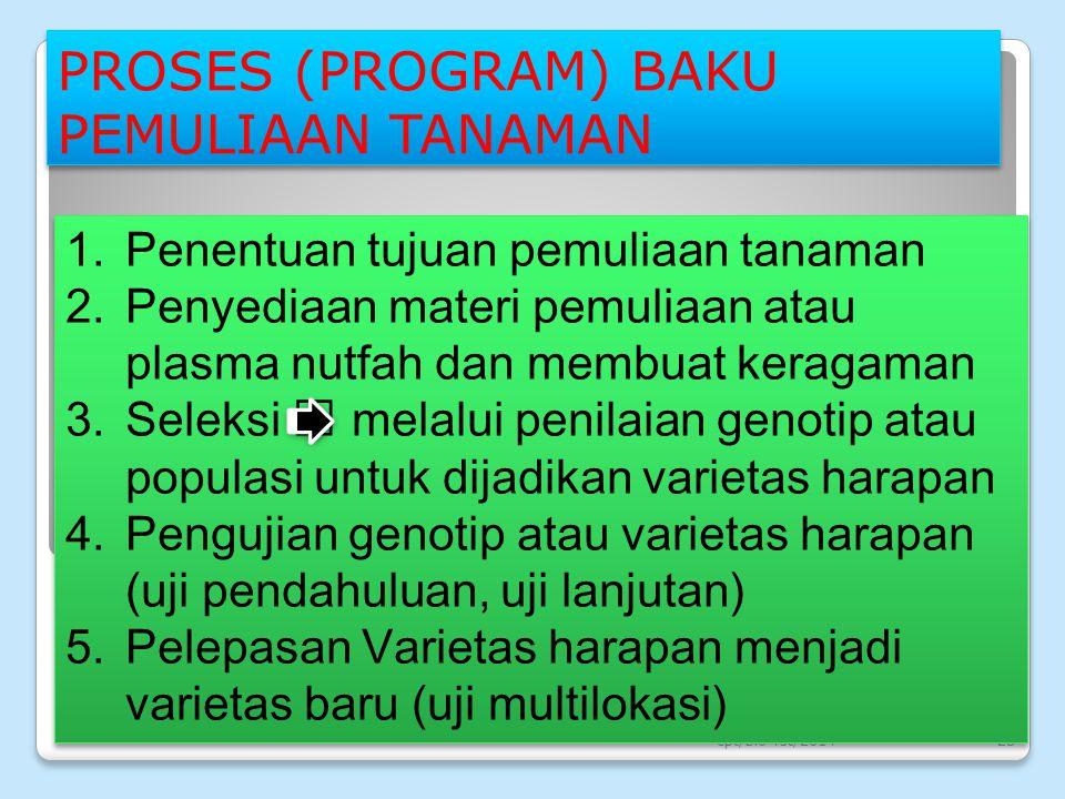 PROSES (PROGRAM) BAKU PEMULIAAN TANAMAN