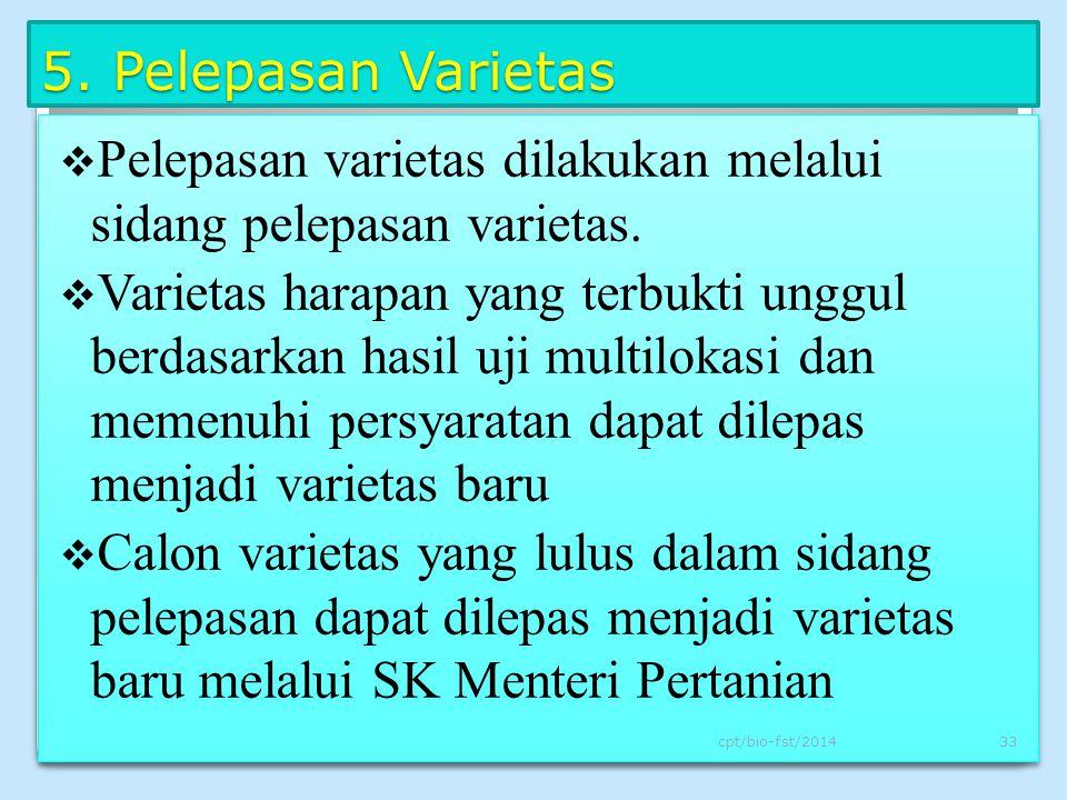 Pelepasan varietas dilakukan melalui sidang pelepasan varietas.