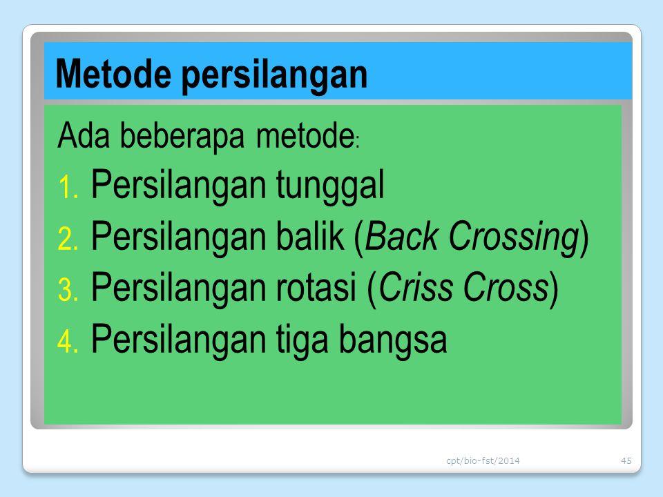 Persilangan balik (Back Crossing) Persilangan rotasi (Criss Cross)