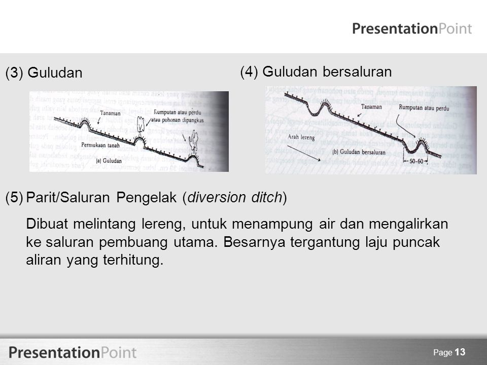 (5) Parit/Saluran Pengelak (diversion ditch)