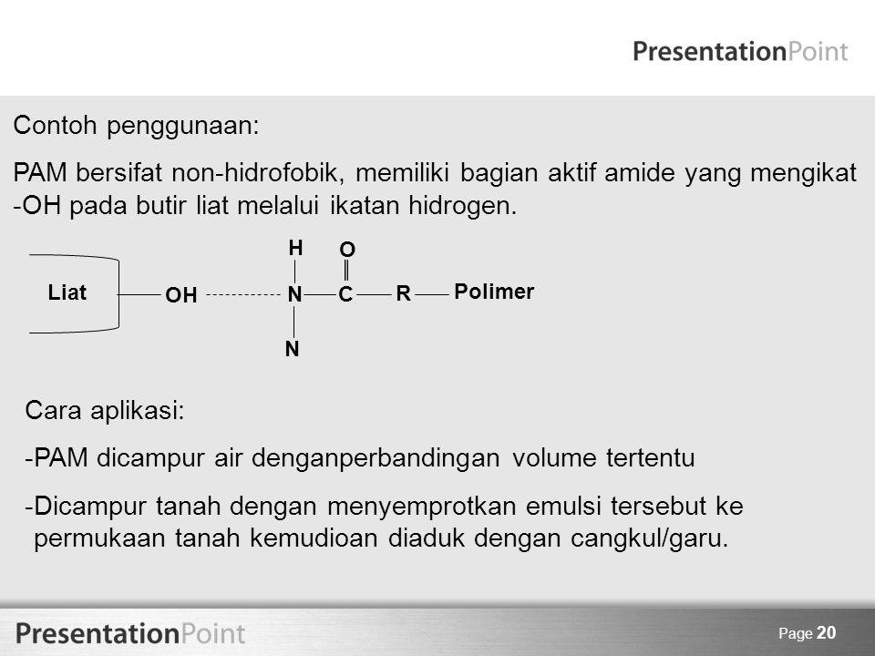 PAM dicampur air denganperbandingan volume tertentu