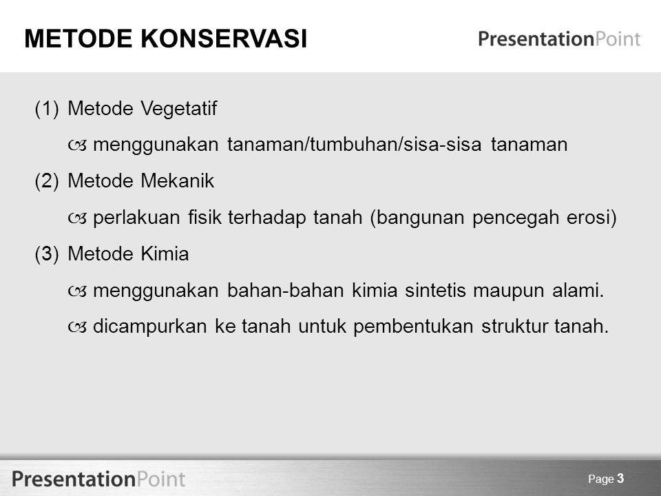 METODE KONSERVASI Metode Vegetatif