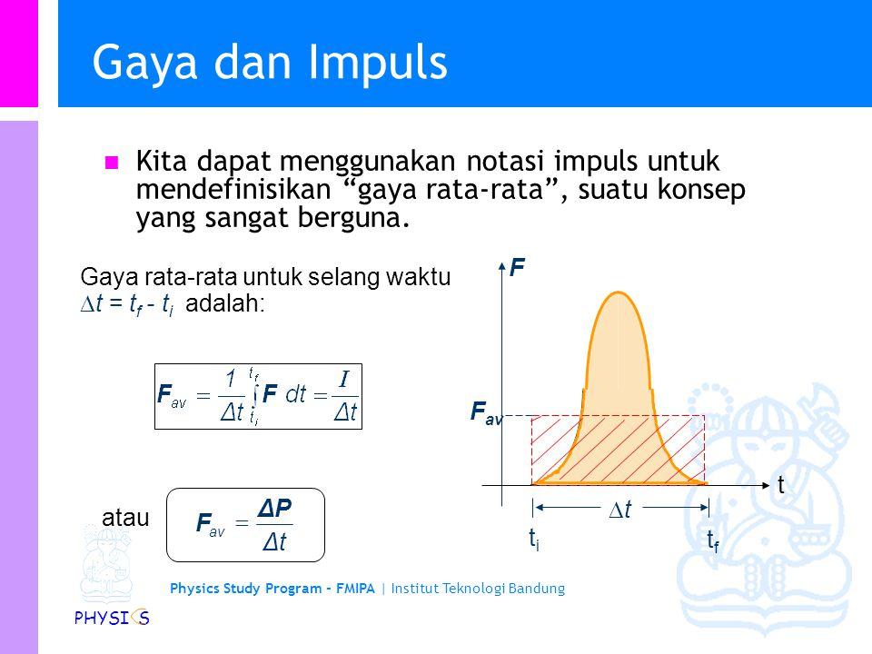 Gaya dan Impuls Kita dapat menggunakan notasi impuls untuk mendefinisikan gaya rata-rata , suatu konsep yang sangat berguna.