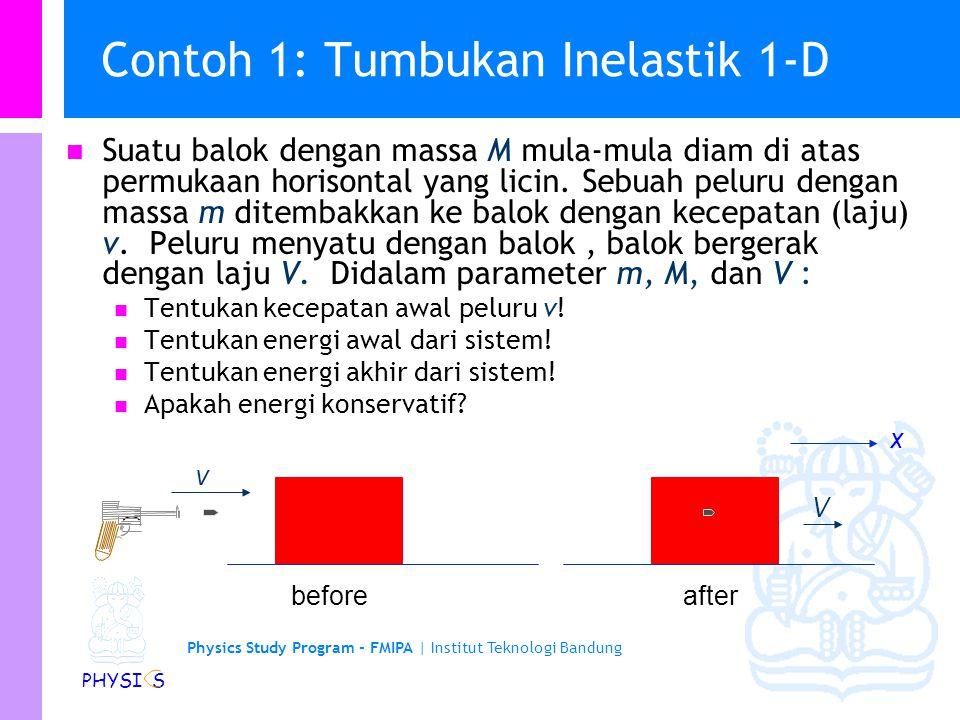 Contoh 1: Tumbukan Inelastik 1-D
