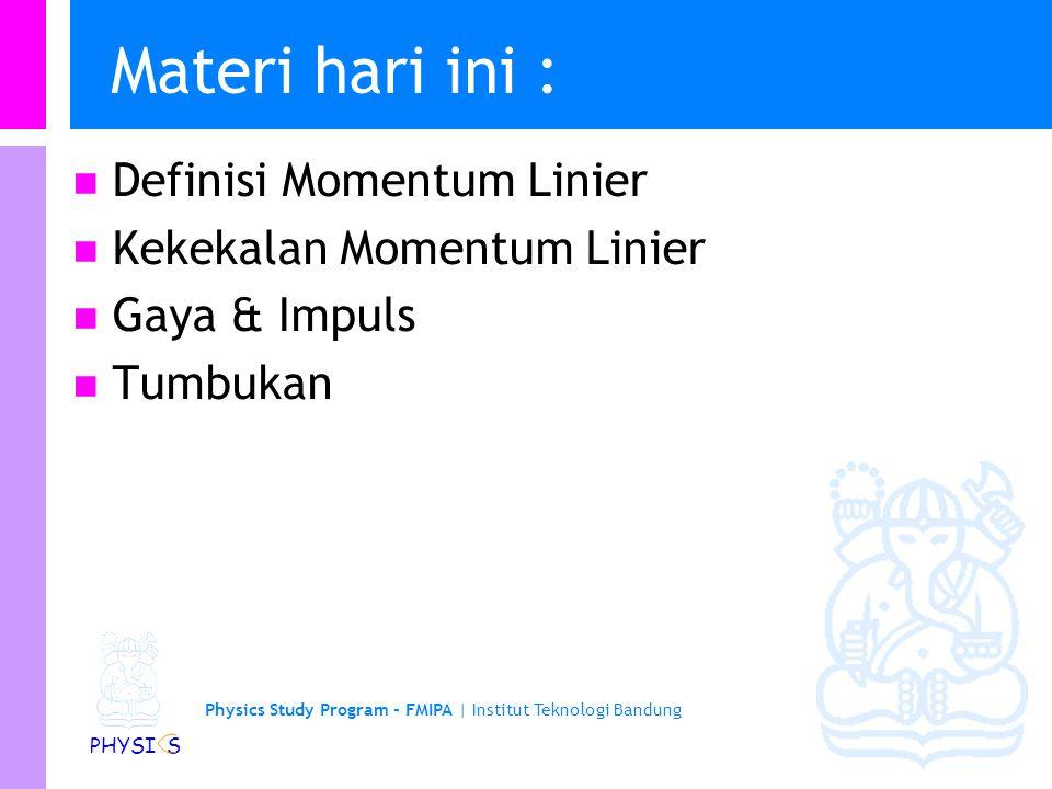 Materi hari ini : Definisi Momentum Linier Kekekalan Momentum Linier