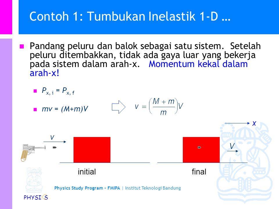 Contoh 1: Tumbukan Inelastik 1-D …