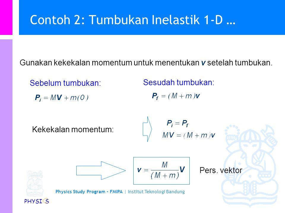 Contoh 2: Tumbukan Inelastik 1-D …