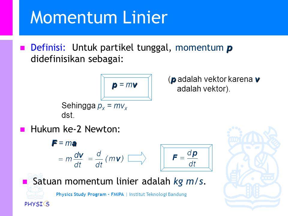 Momentum Linier Definisi: Untuk partikel tunggal, momentum p didefinisikan sebagai: (p adalah vektor karena v adalah vektor).