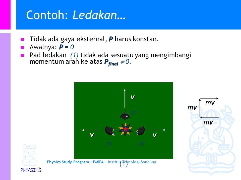 Contoh: Ledakan… Tidak ada gaya eksternal, P harus konstan.