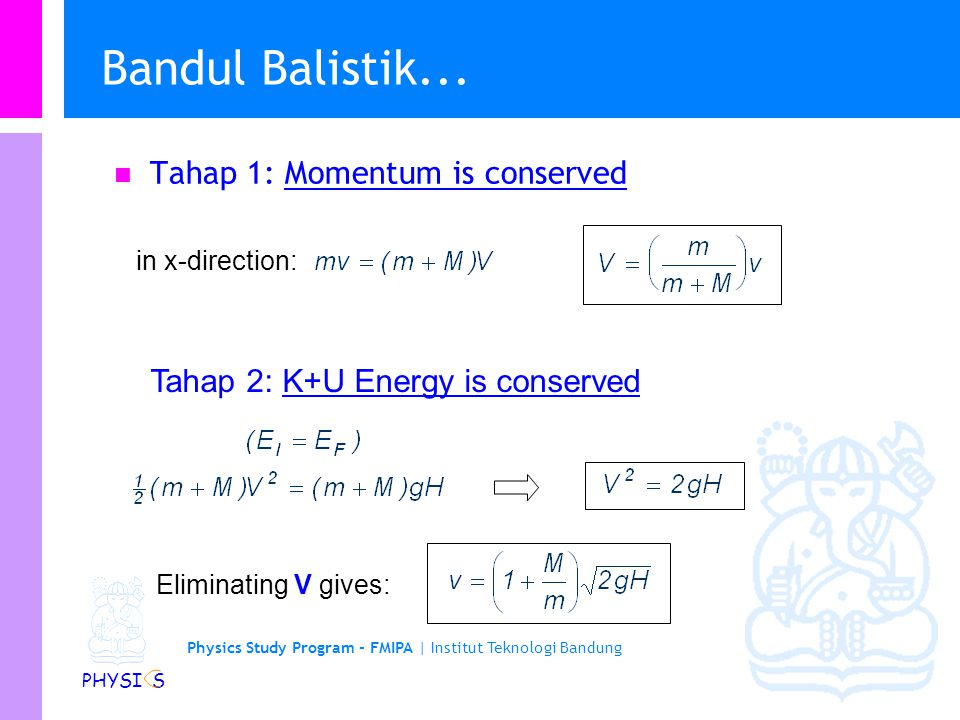 Bandul Balistik... Tahap 1: Momentum is conserved