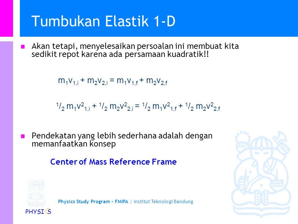 Tumbukan Elastik 1-D Akan tetapi, menyelesaikan persoalan ini membuat kita sedikit repot karena ada persamaan kuadratik!!