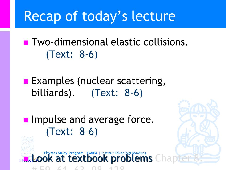 Recap of today's lecture