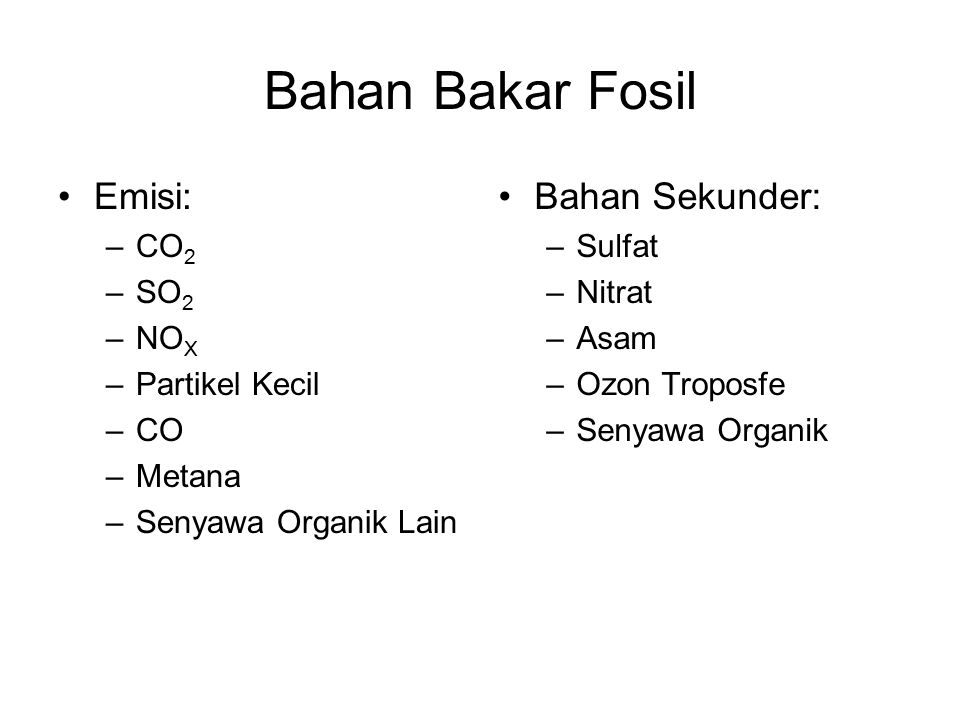 Bahan Bakar Fosil Emisi: Bahan Sekunder: CO2 SO2 NOX Partikel Kecil CO