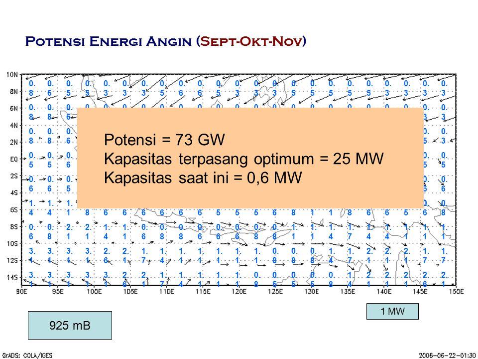 Kapasitas terpasang optimum = 25 MW Kapasitas saat ini = 0,6 MW