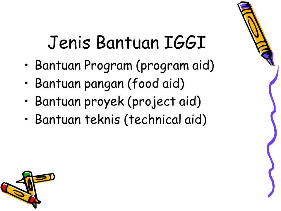 Jenis Bantuan IGGI Bantuan Program (program aid)