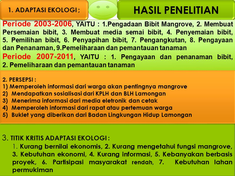 1. ADAPTASI EKOLOGI ; HASIL PENELITIAN.
