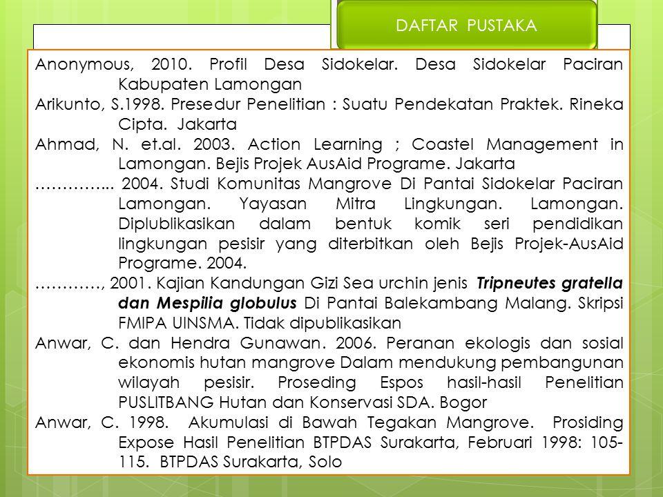 DAFTAR PUSTAKA Anonymous, 2010. Profil Desa Sidokelar. Desa Sidokelar Paciran Kabupaten Lamongan.