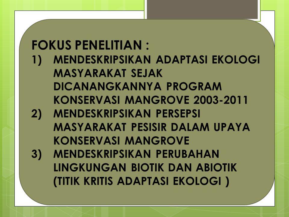 FOKUS PENELITIAN : MENDESKRIPSIKAN ADAPTASI EKOLOGI MASYARAKAT SEJAK DICANANGKANNYA PROGRAM KONSERVASI MANGROVE 2003-2011.