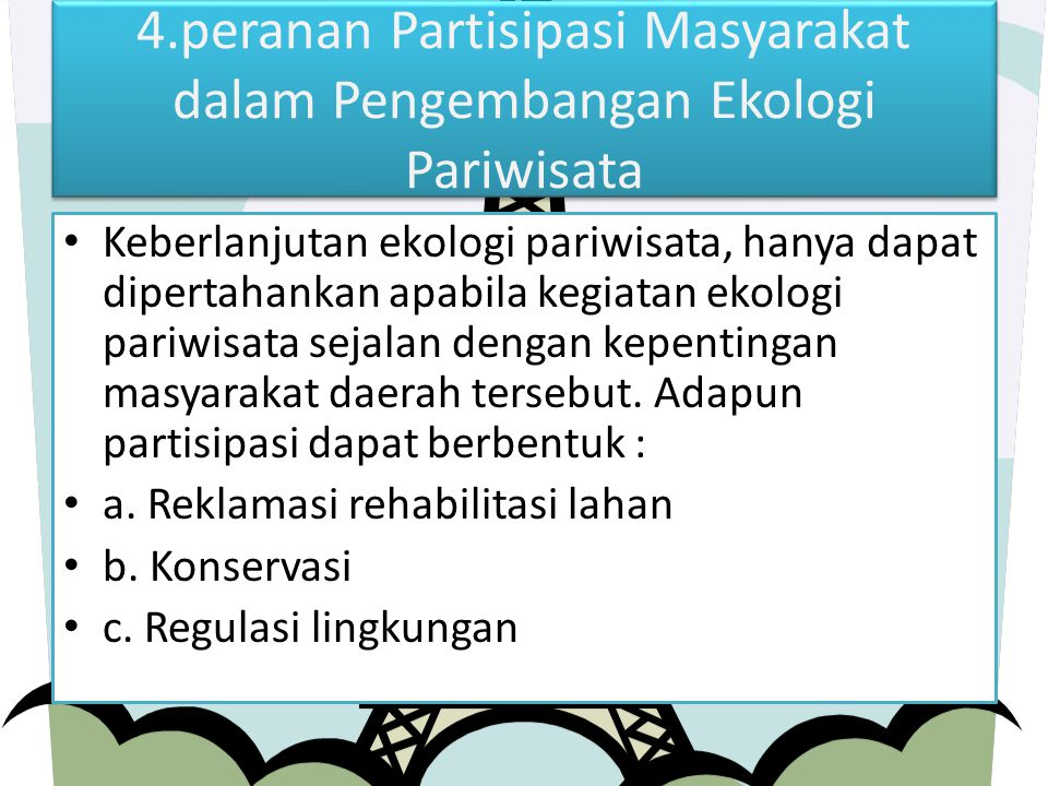4.peranan Partisipasi Masyarakat dalam Pengembangan Ekologi Pariwisata