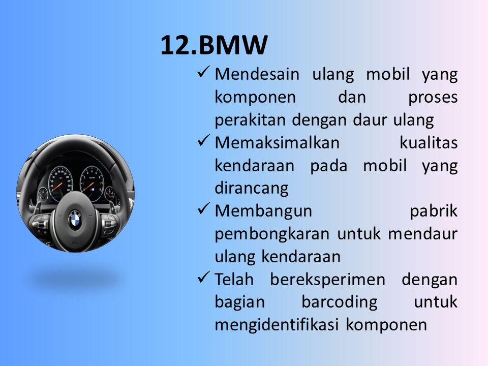 12.BMW Mendesain ulang mobil yang komponen dan proses perakitan dengan daur ulang. Memaksimalkan kualitas kendaraan pada mobil yang dirancang.