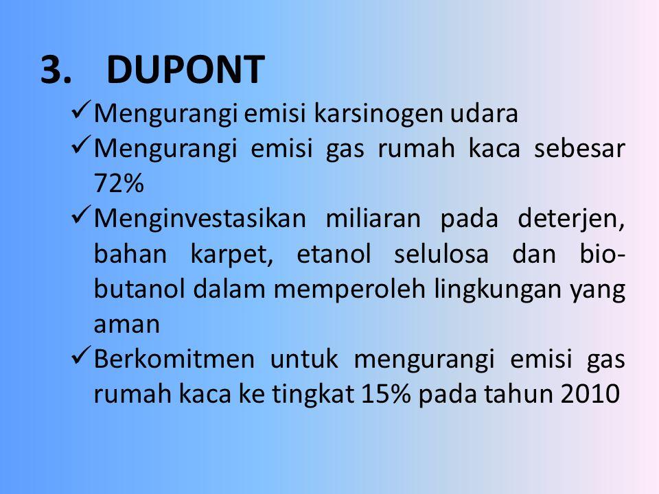 3. DUPONT Mengurangi emisi karsinogen udara