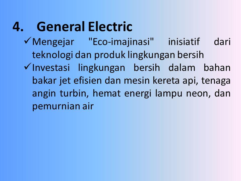 4. General Electric Mengejar Eco-imajinasi inisiatif dari teknologi dan produk lingkungan bersih.