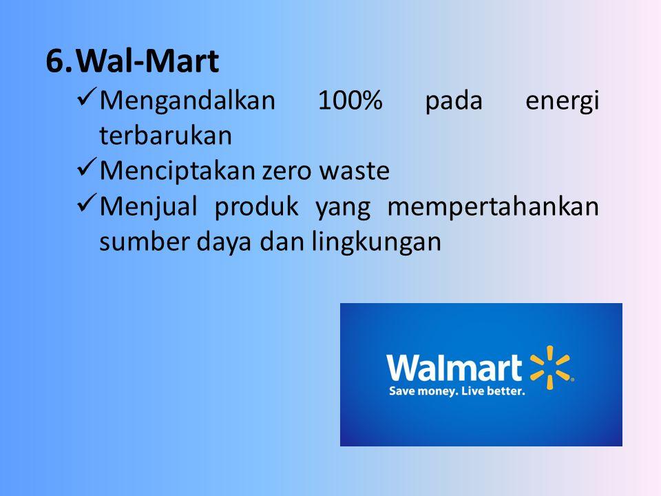 6. Wal-Mart Mengandalkan 100% pada energi terbarukan