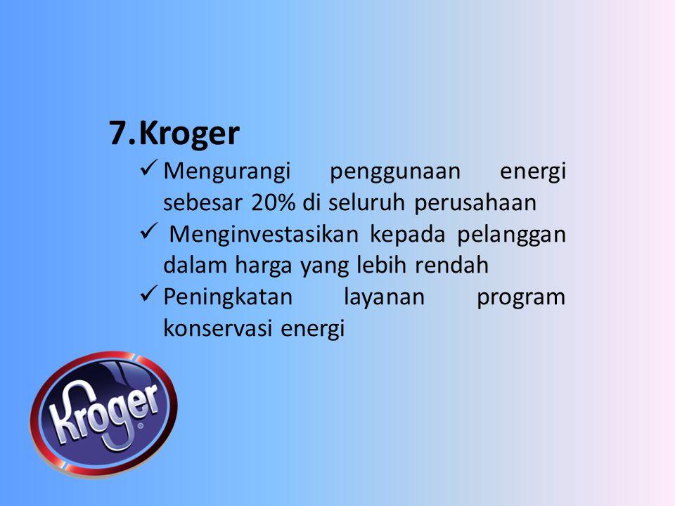 7. Kroger Mengurangi penggunaan energi sebesar 20% di seluruh perusahaan. Menginvestasikan kepada pelanggan dalam harga yang lebih rendah.