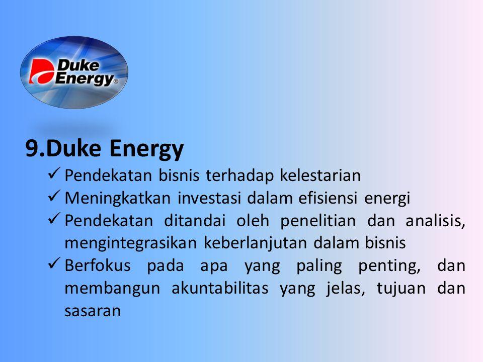 9.Duke Energy Pendekatan bisnis terhadap kelestarian