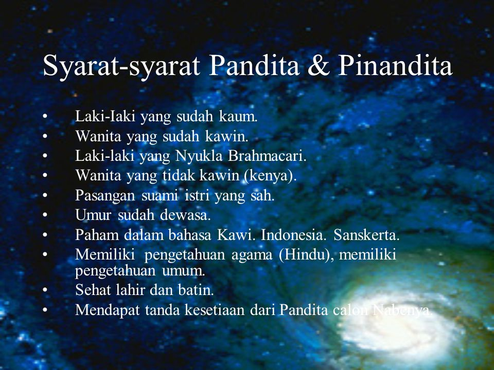 Syarat-syarat Pandita & Pinandita