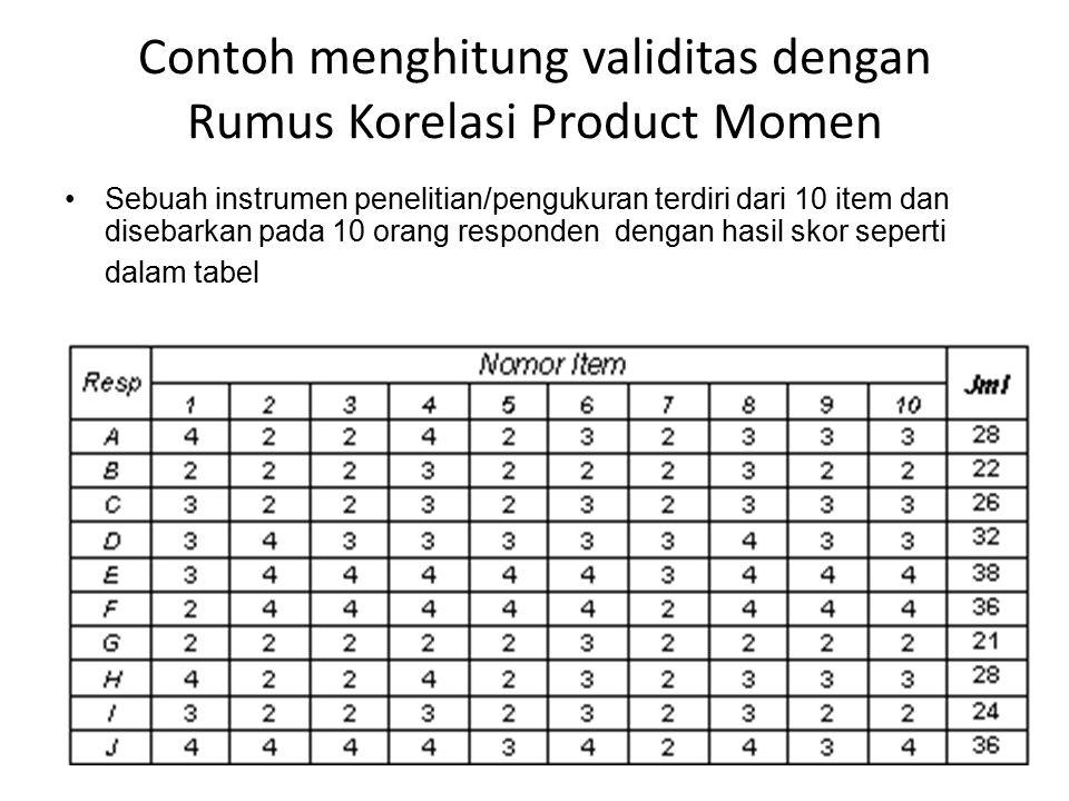 Contoh menghitung validitas dengan Rumus Korelasi Product Momen