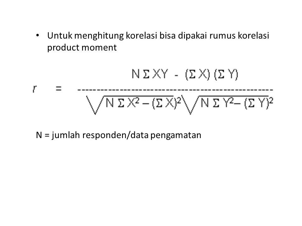 Untuk menghitung korelasi bisa dipakai rumus korelasi product moment