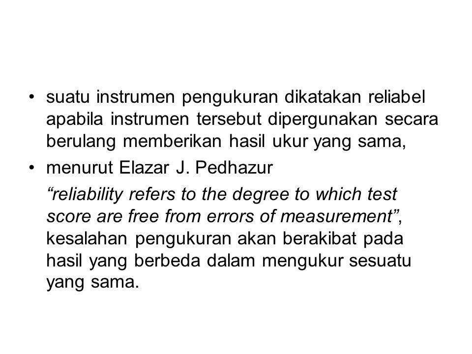 suatu instrumen pengukuran dikatakan reliabel apabila instrumen tersebut dipergunakan secara berulang memberikan hasil ukur yang sama,