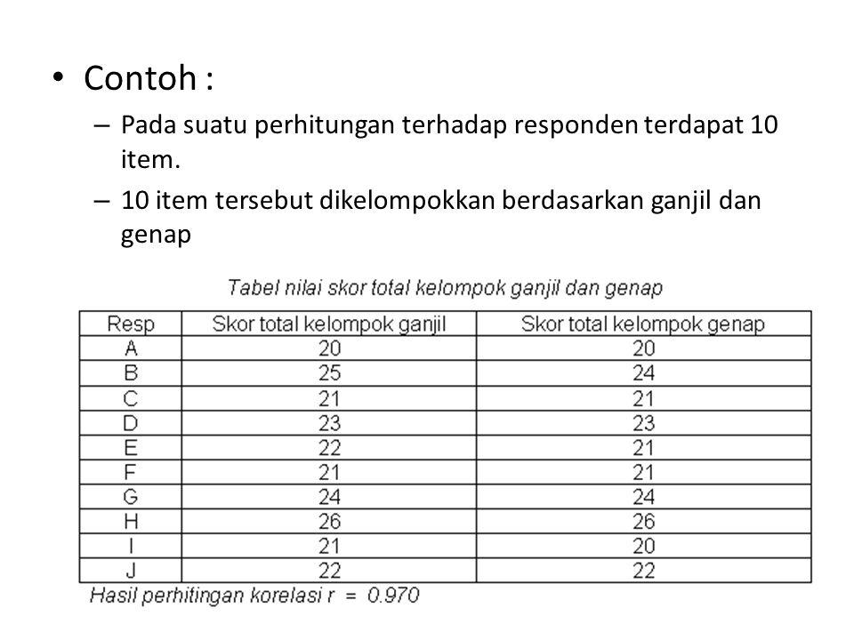 Contoh : Pada suatu perhitungan terhadap responden terdapat 10 item.