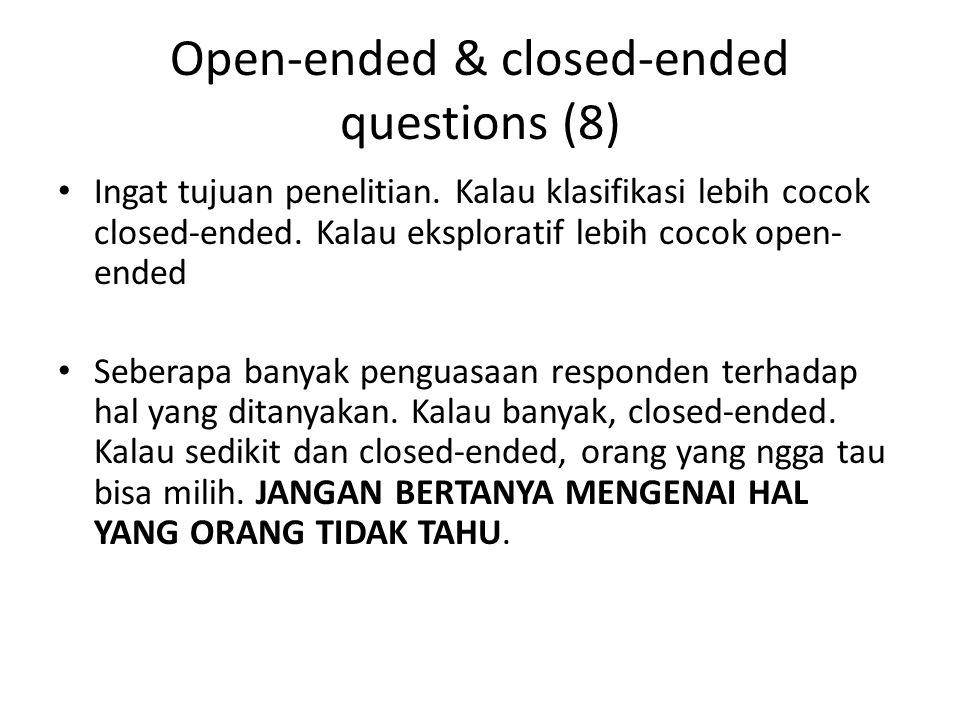 Open-ended & closed-ended questions (8)