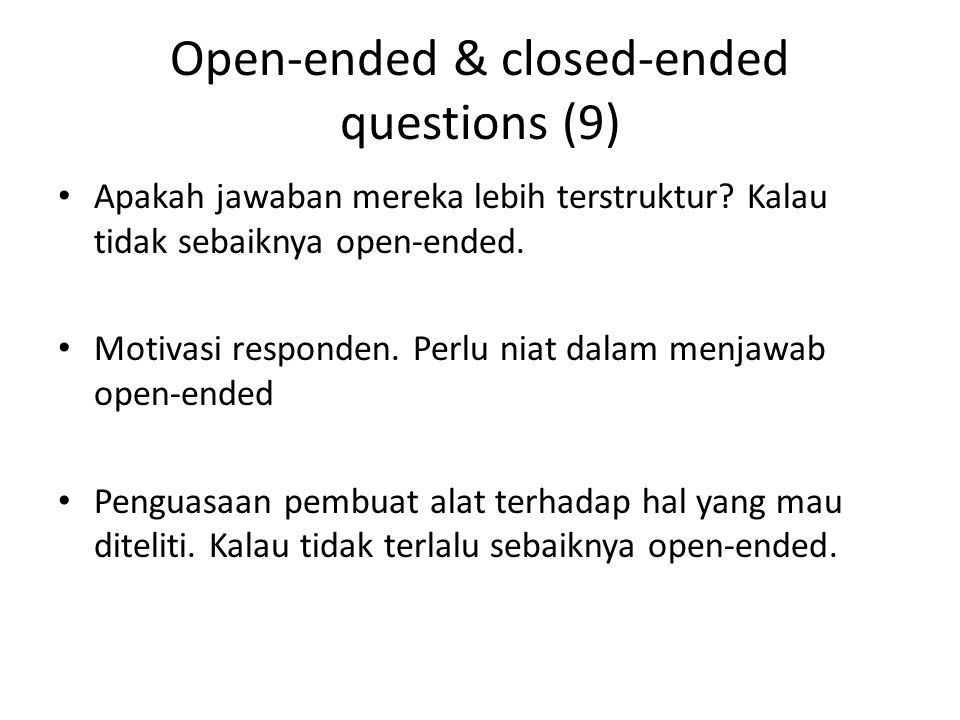 Open-ended & closed-ended questions (9)