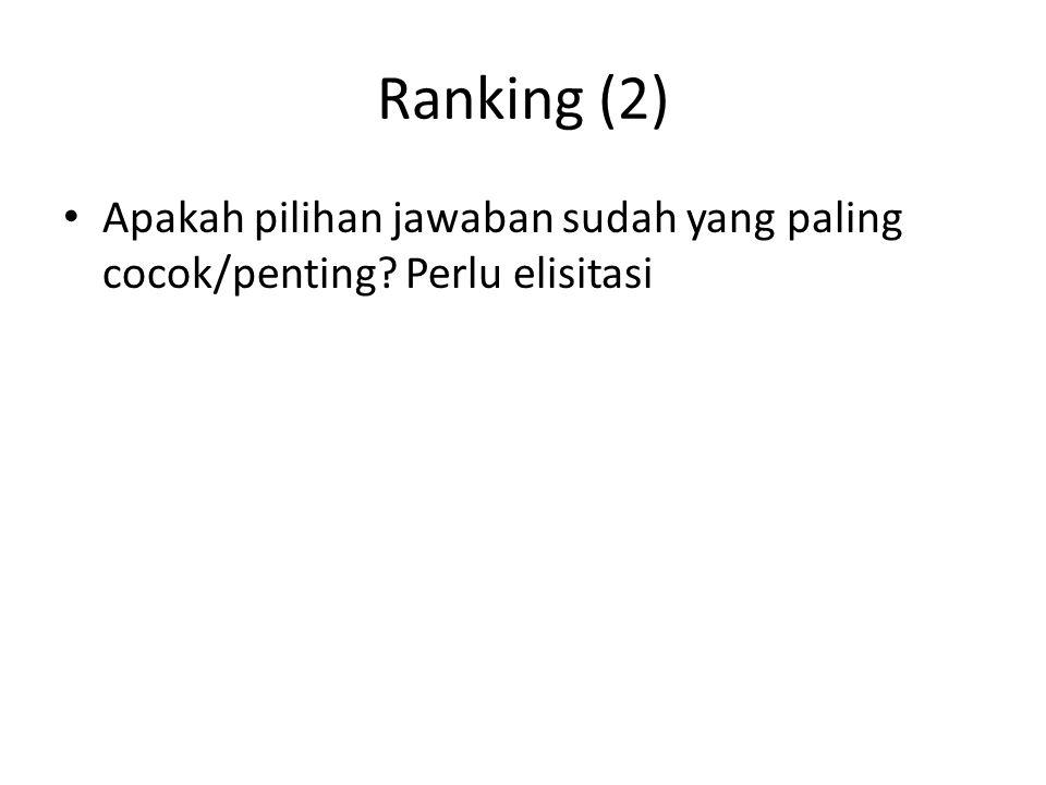 Ranking (2) Apakah pilihan jawaban sudah yang paling cocok/penting Perlu elisitasi
