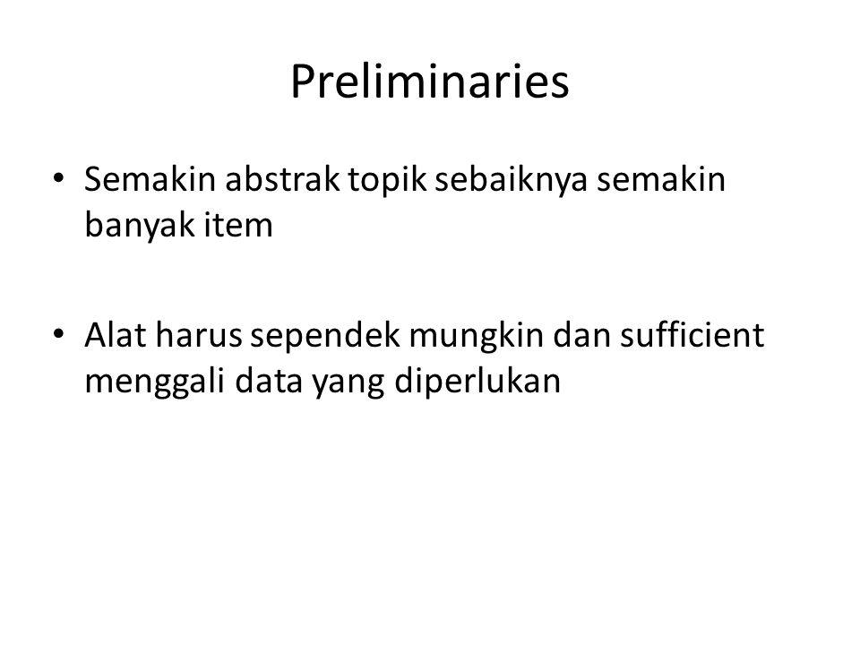 Preliminaries Semakin abstrak topik sebaiknya semakin banyak item