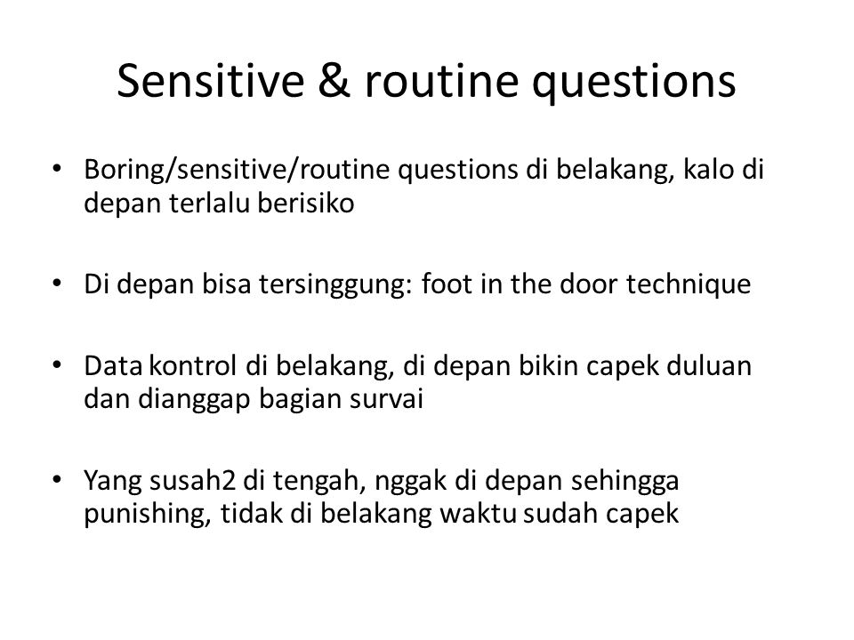 Sensitive & routine questions