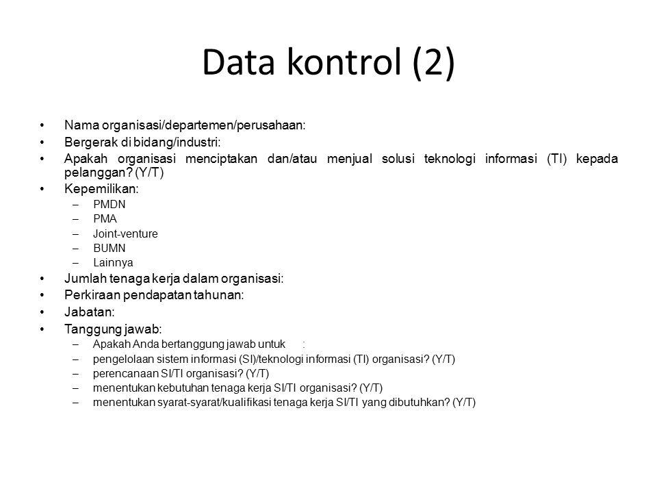 Data kontrol (2) Nama organisasi/departemen/perusahaan :