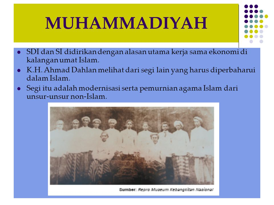 MUHAMMADIYAH SDI dan SI didirikan dengan alasan utama kerja sama ekonomi di kalangan umat Islam.