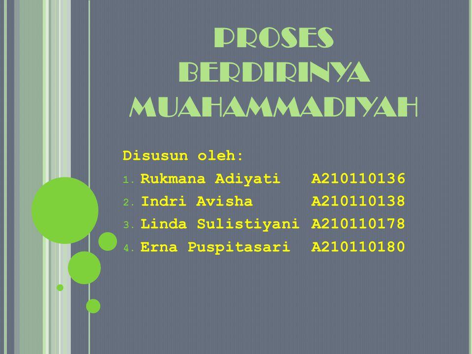 PROSES BERDIRINYA MUAHAMMADIYAH