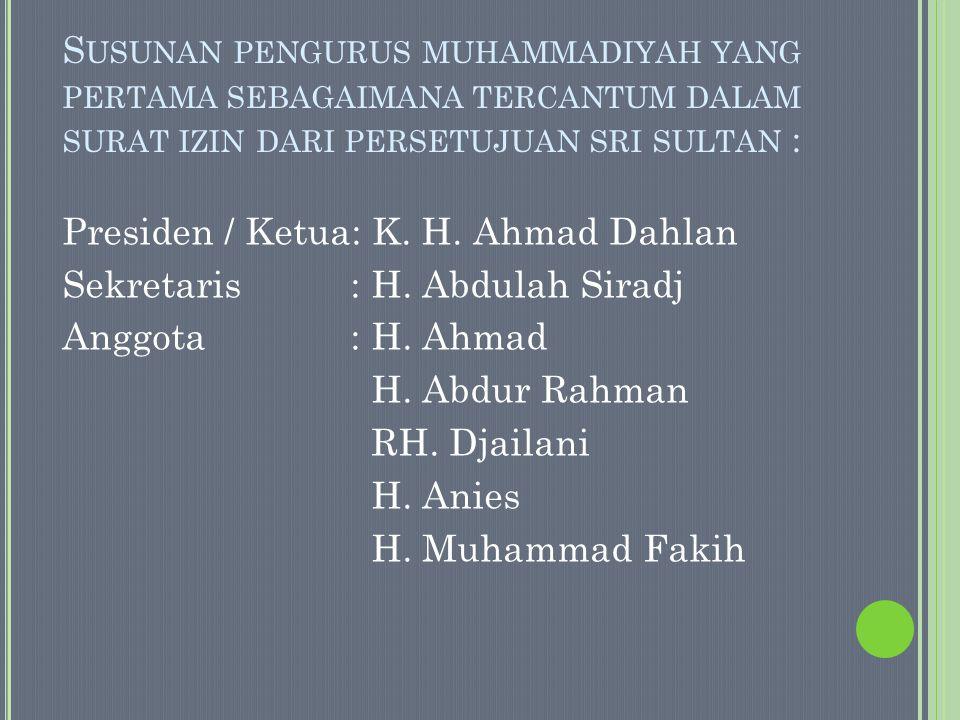 Susunan pengurus muhammadiyah yang pertama sebagaimana tercantum dalam surat izin dari persetujuan sri sultan :
