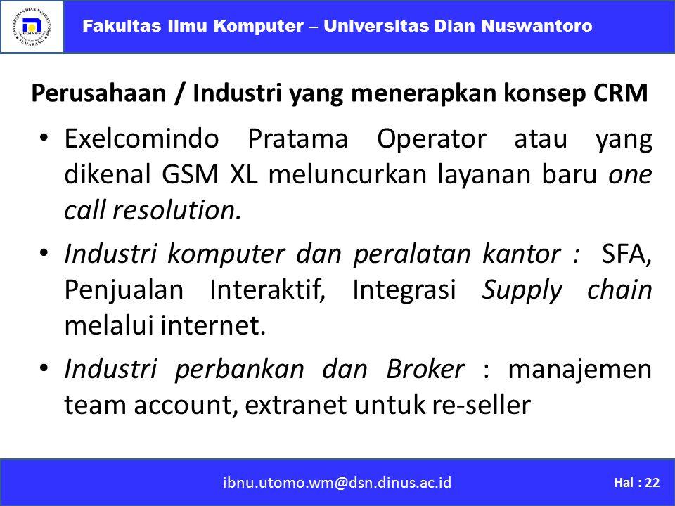 Perusahaan / Industri yang menerapkan konsep CRM