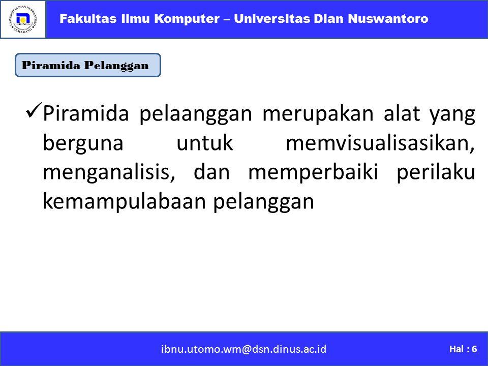 Fakultas Ilmu Komputer – Universitas Dian Nuswantoro
