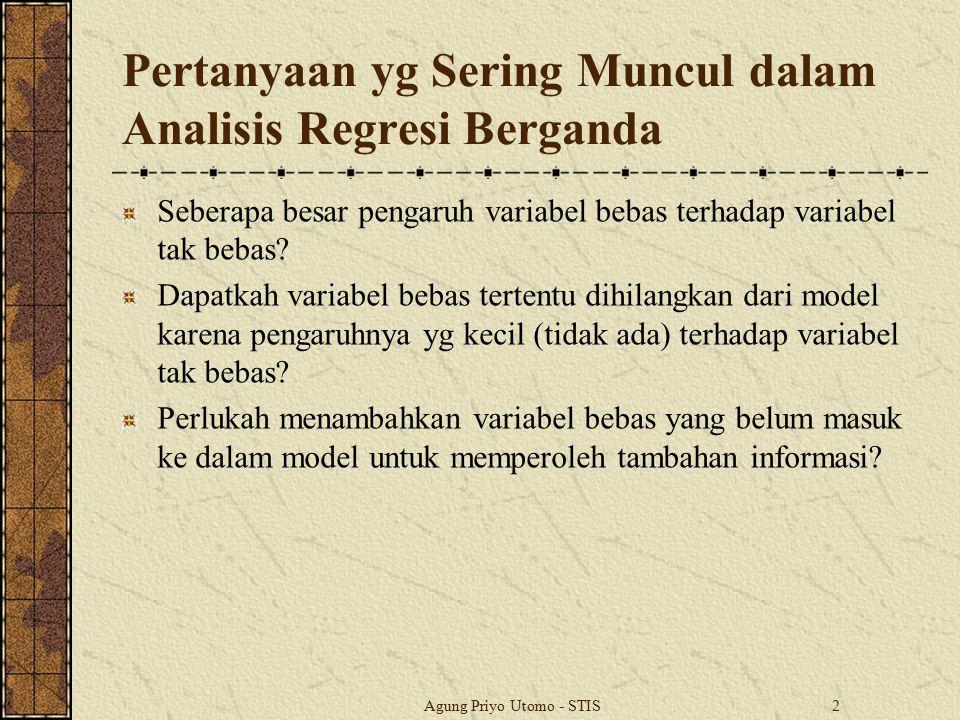 Pertanyaan yg Sering Muncul dalam Analisis Regresi Berganda