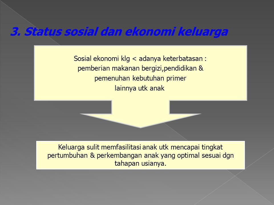 3. Status sosial dan ekonomi keluarga